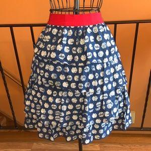 Blue and white knee length skirt